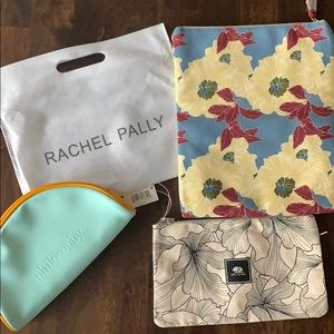 Set of 3, one reversible clutch, two make up bags